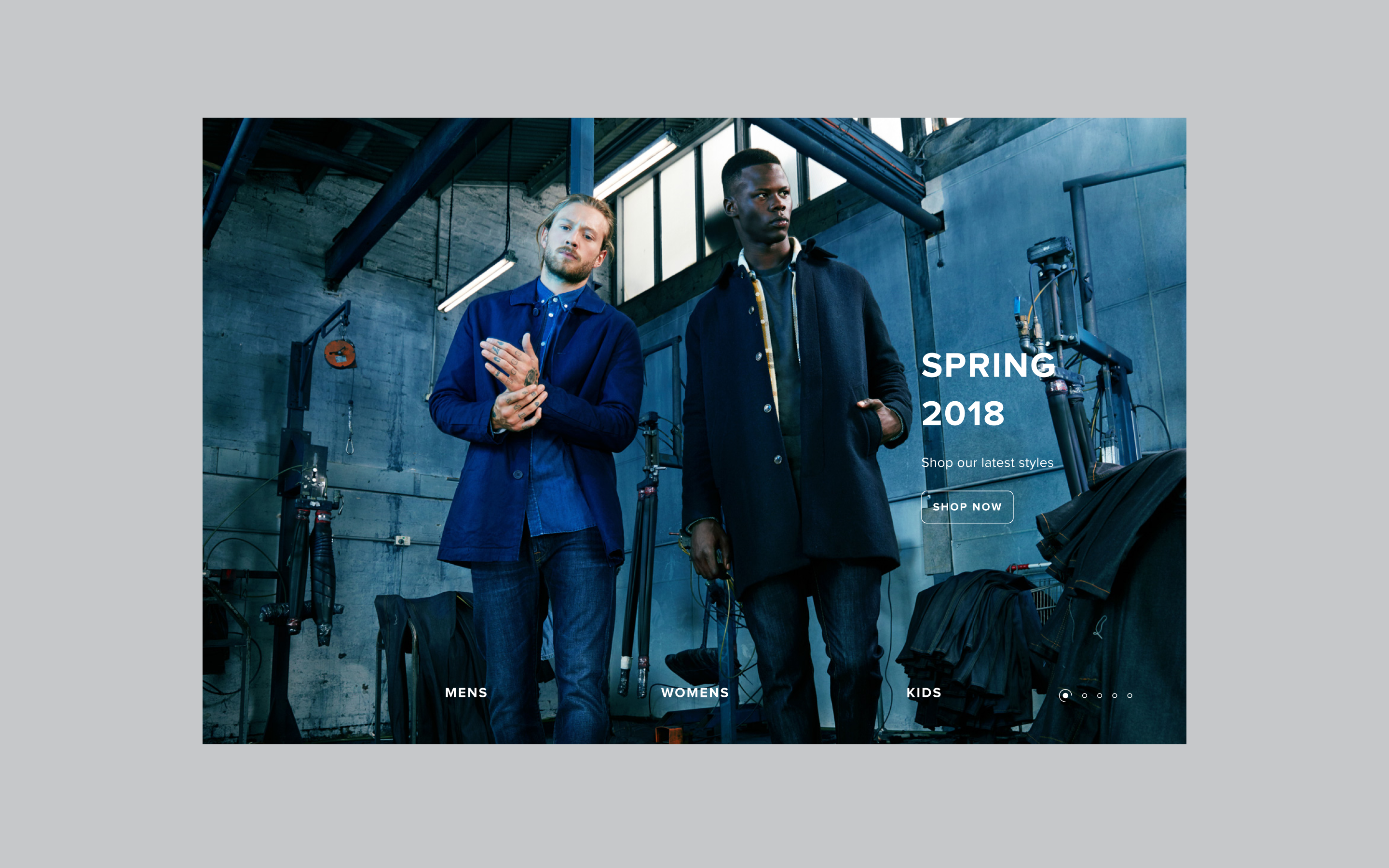 THE ICONIC website Spring 2018 page featuring two models in suits