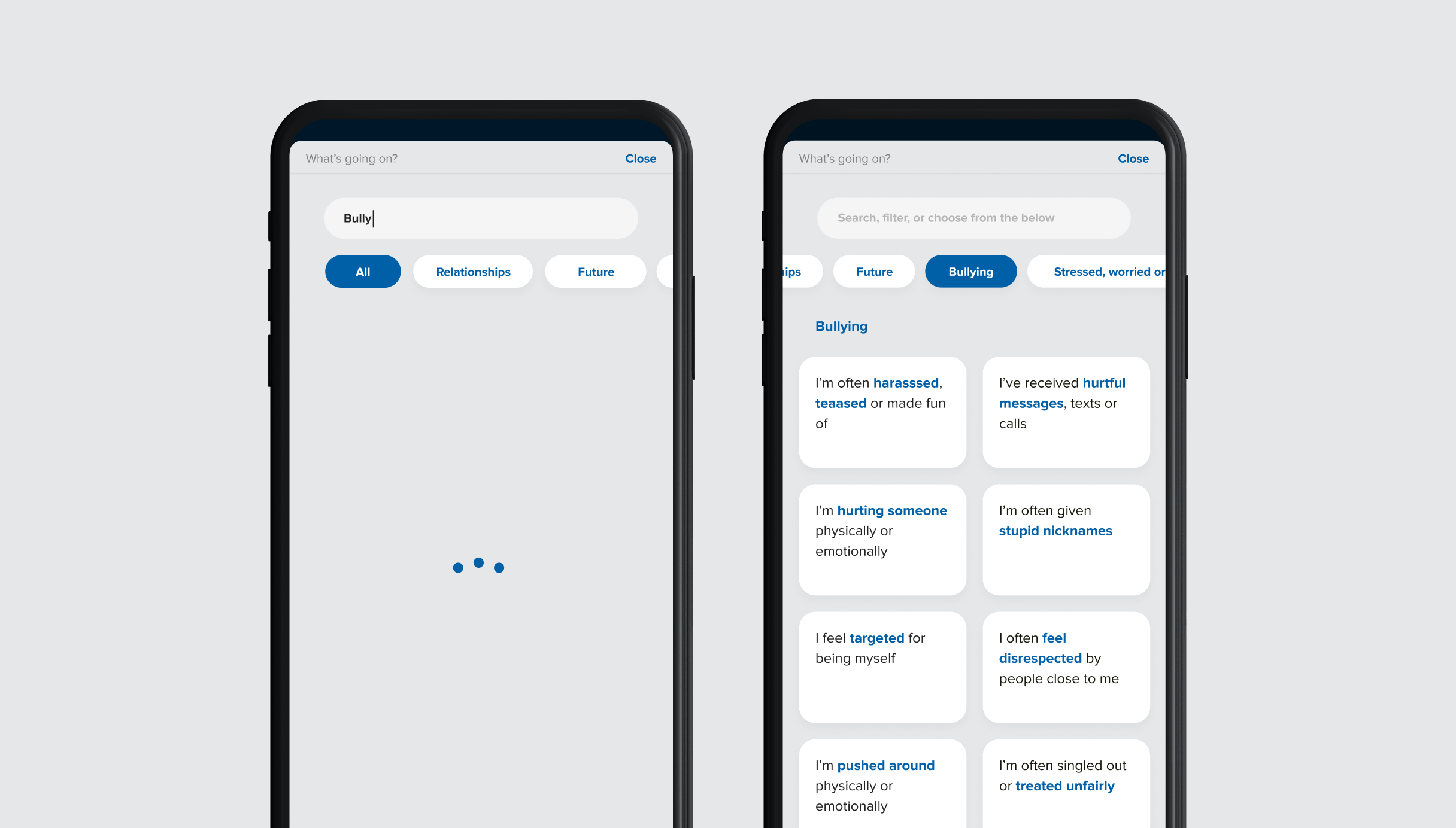 Mobile Next Step filter and search