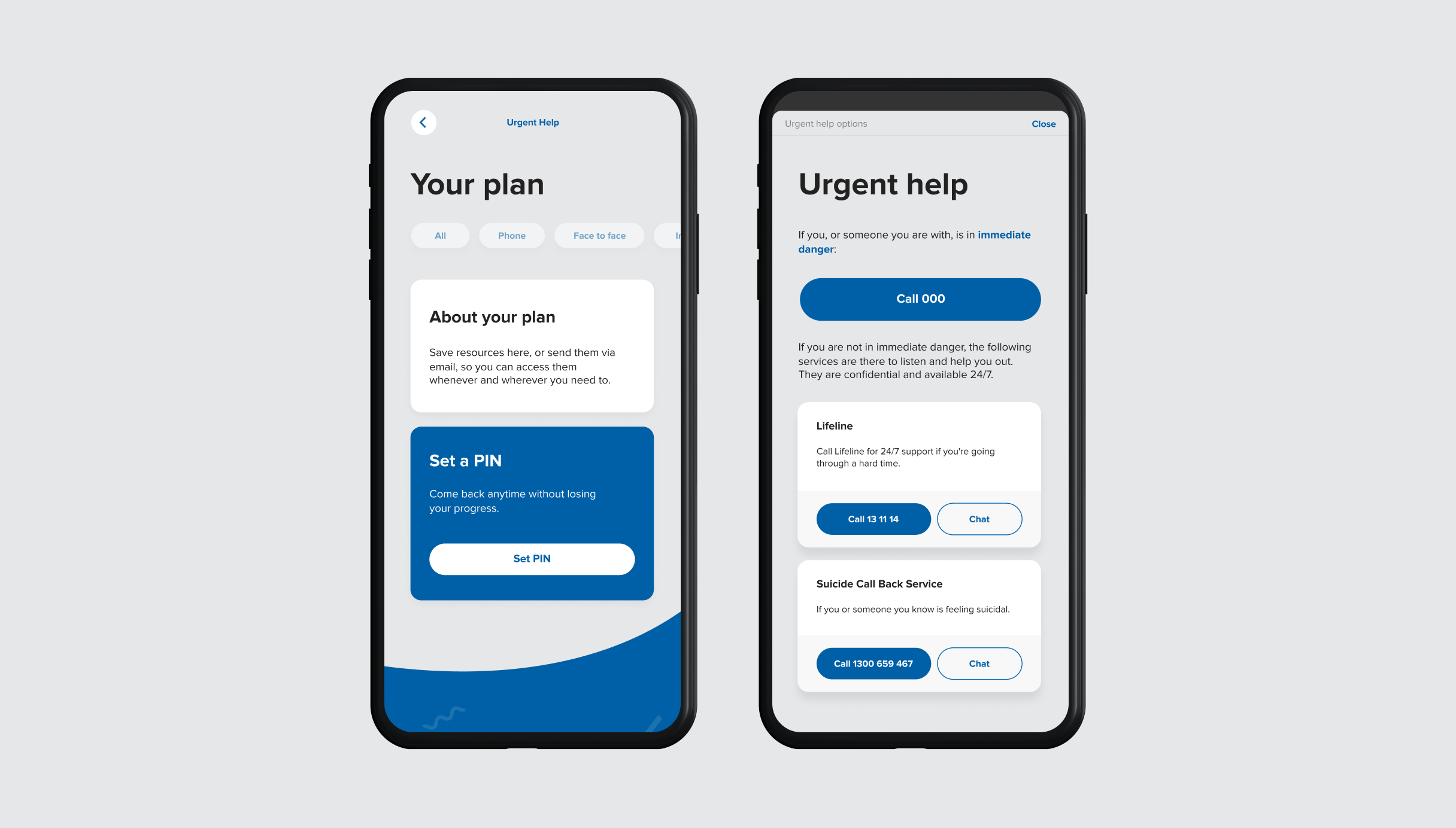 Mobile Next Step your plan and urgent help screens