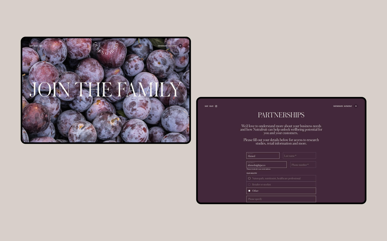 Desktop screens showing the Queen Garnet partnerships sign up