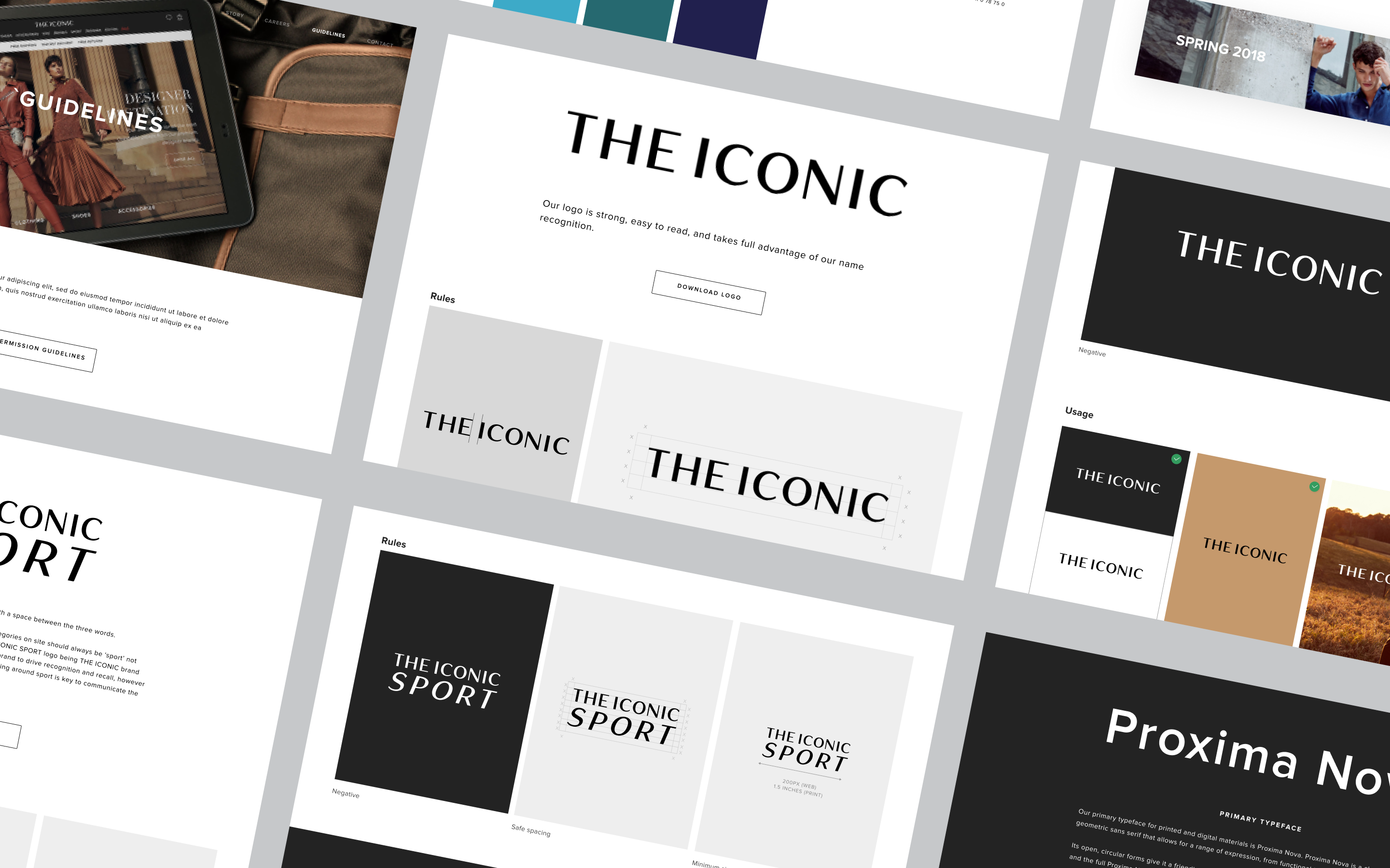 6 screens in a grid showcasing THE ICONIC design system, from fonts to colours