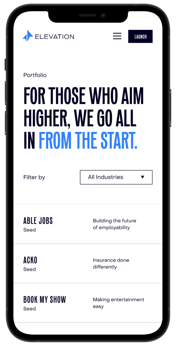 Mobile portfolio page of the new Elevation Capital website