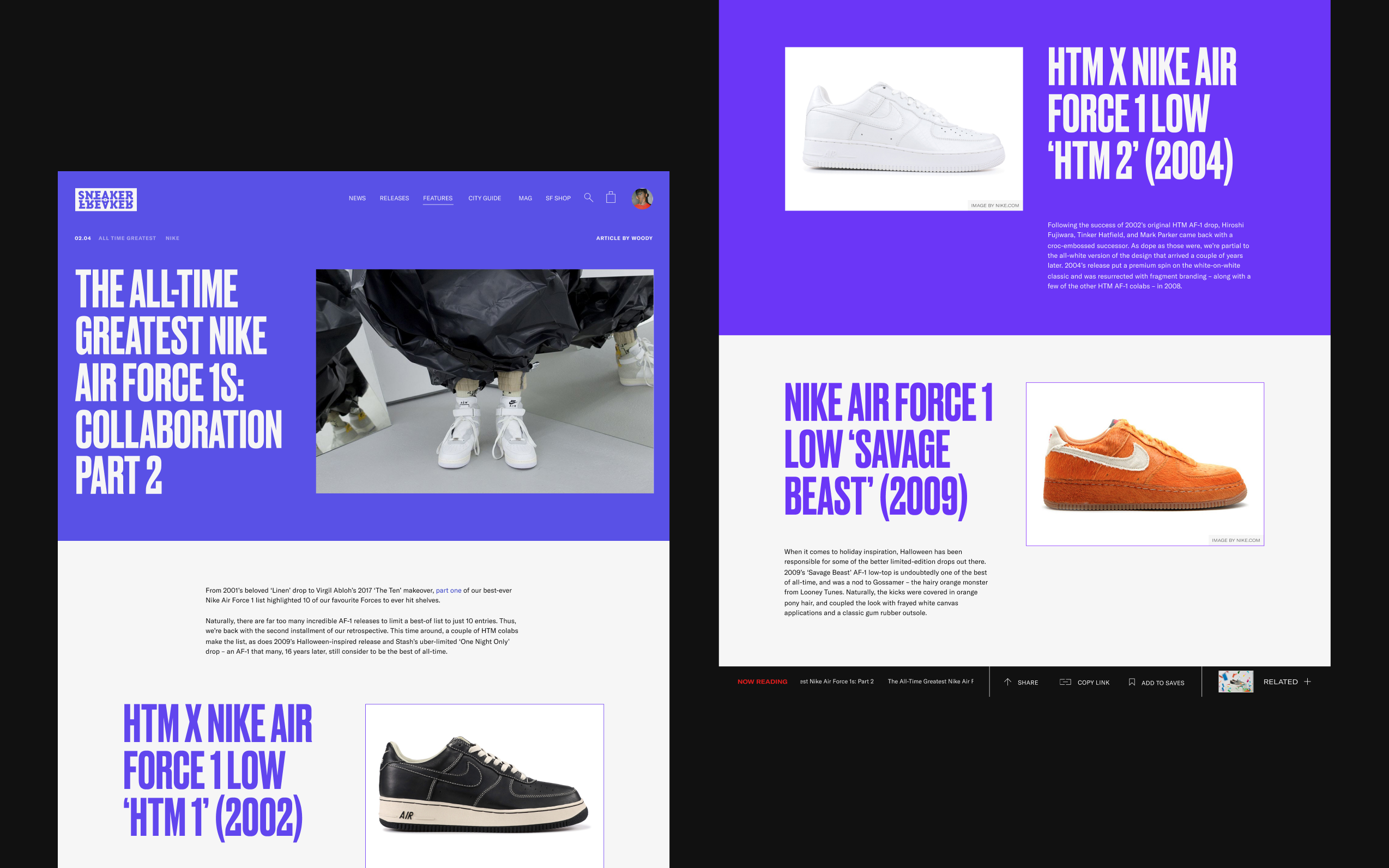 Two desktop screens showing large purple and white article images from sneakerfreaker.com