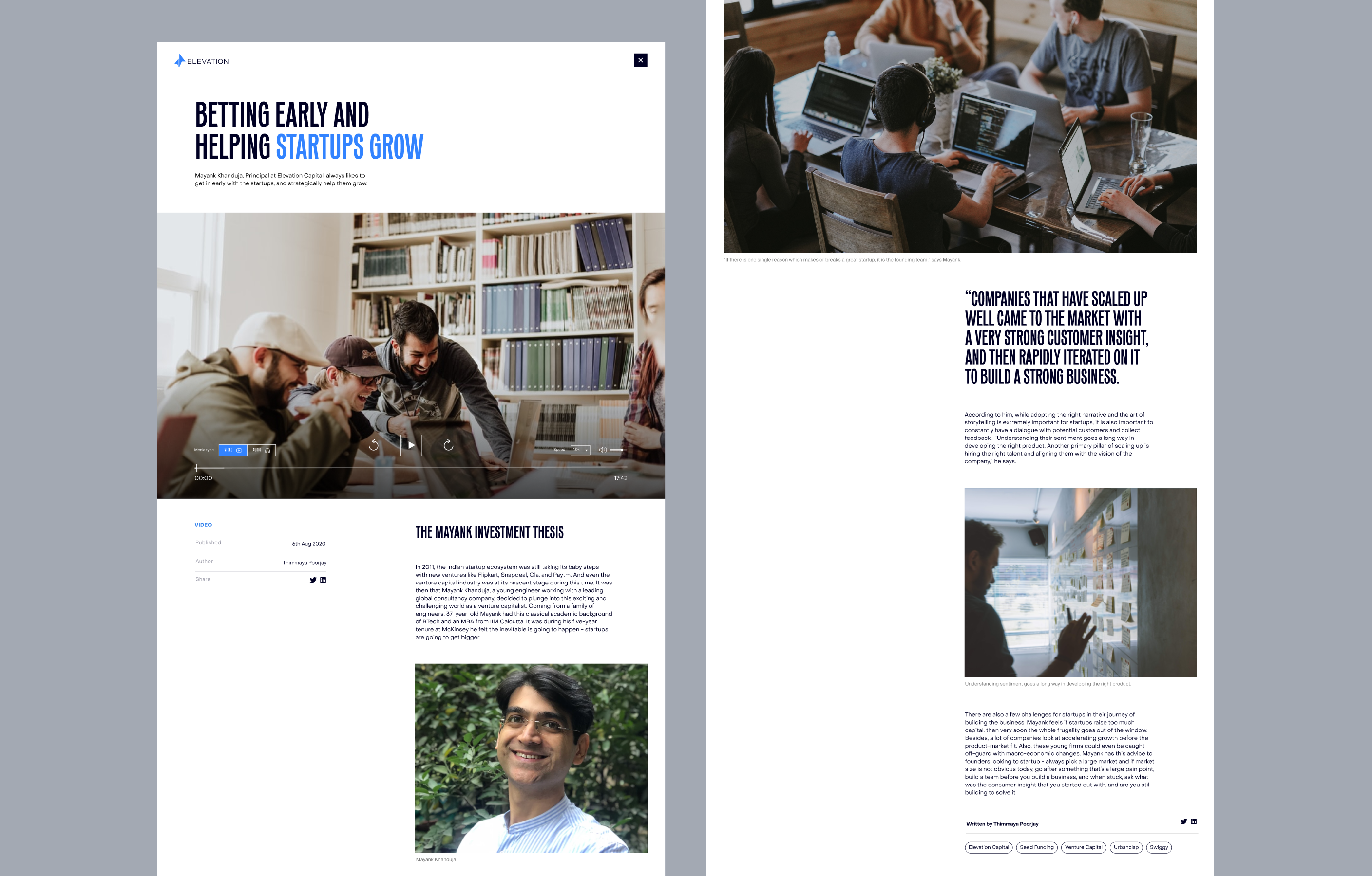 Two desktop screens of article designs for the new Elevation Capital website