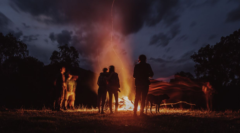 Long exposure shot of camping fire.