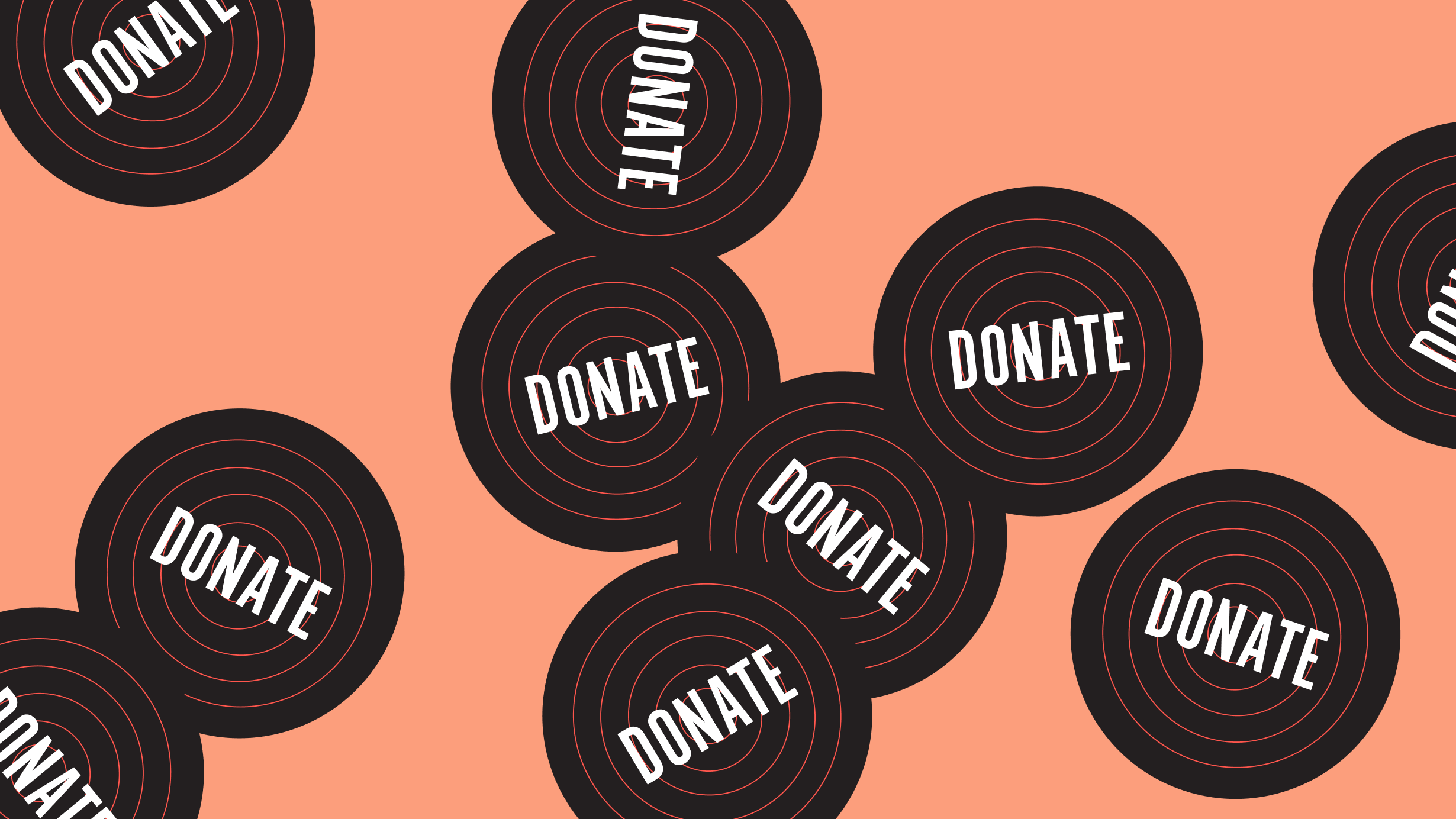 Artwork of multiple black records on an orange background, with 'donate' written on each