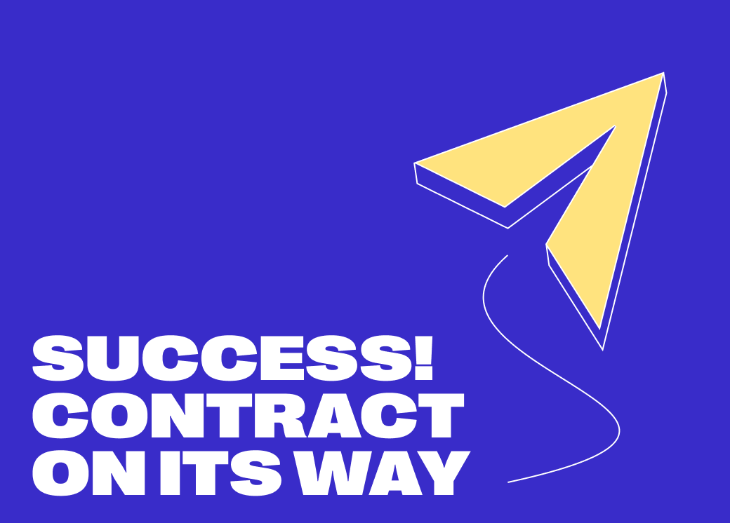 """Blue Husky new branding, showcasing large white hero text on a vivid blue background, saying """"Success! Contract on its way"""""""