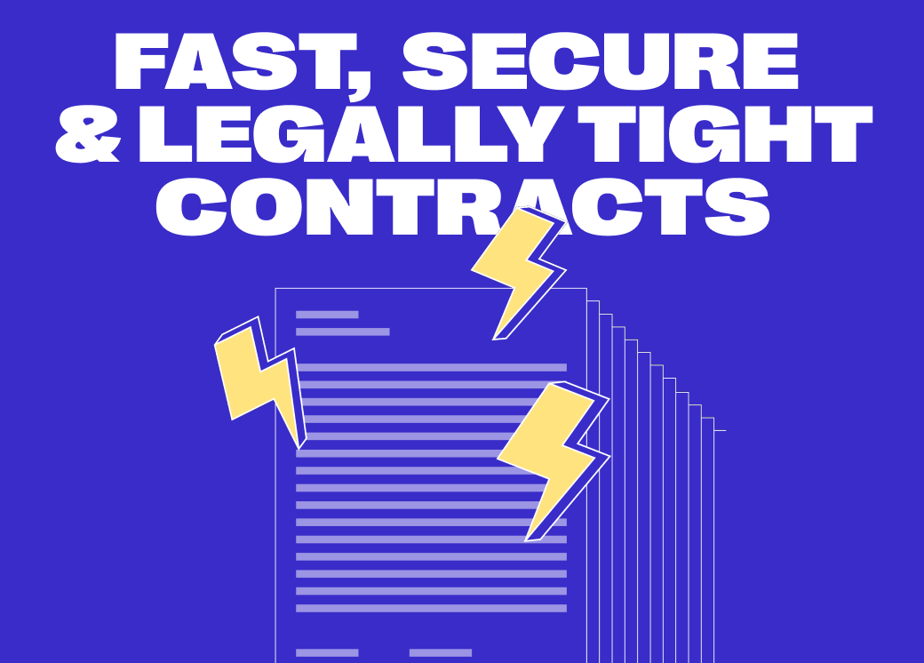 """Blue Husky new branding, showcasing large white hero text on a vivid blue background, saying """"Fast, Secure & Legally Tight Contracts"""""""