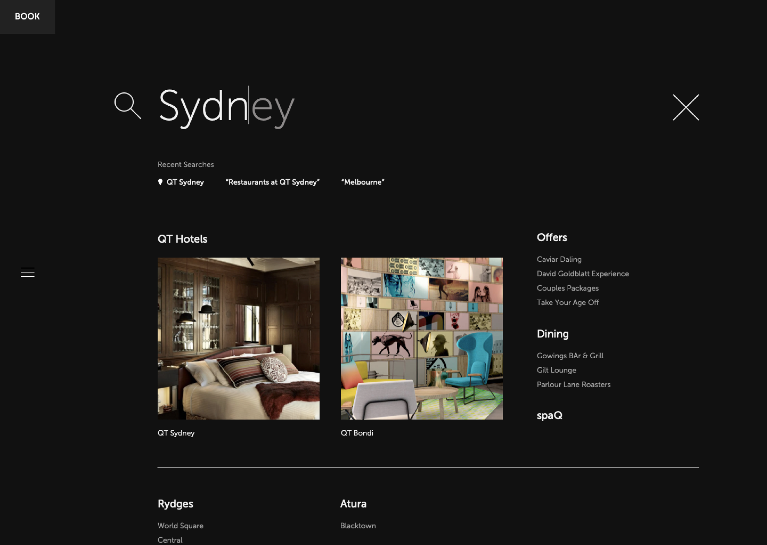 QT hotel search experience, showcasing large imagery and key information