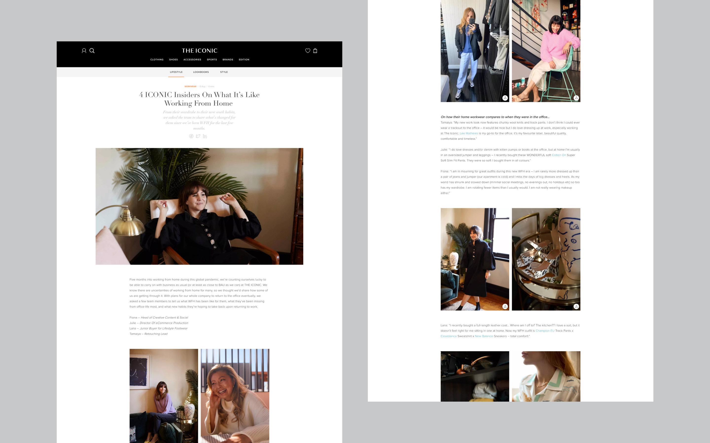 Edition by THE ICONIC new desktop design, an editorial piece lots of fashion imagery