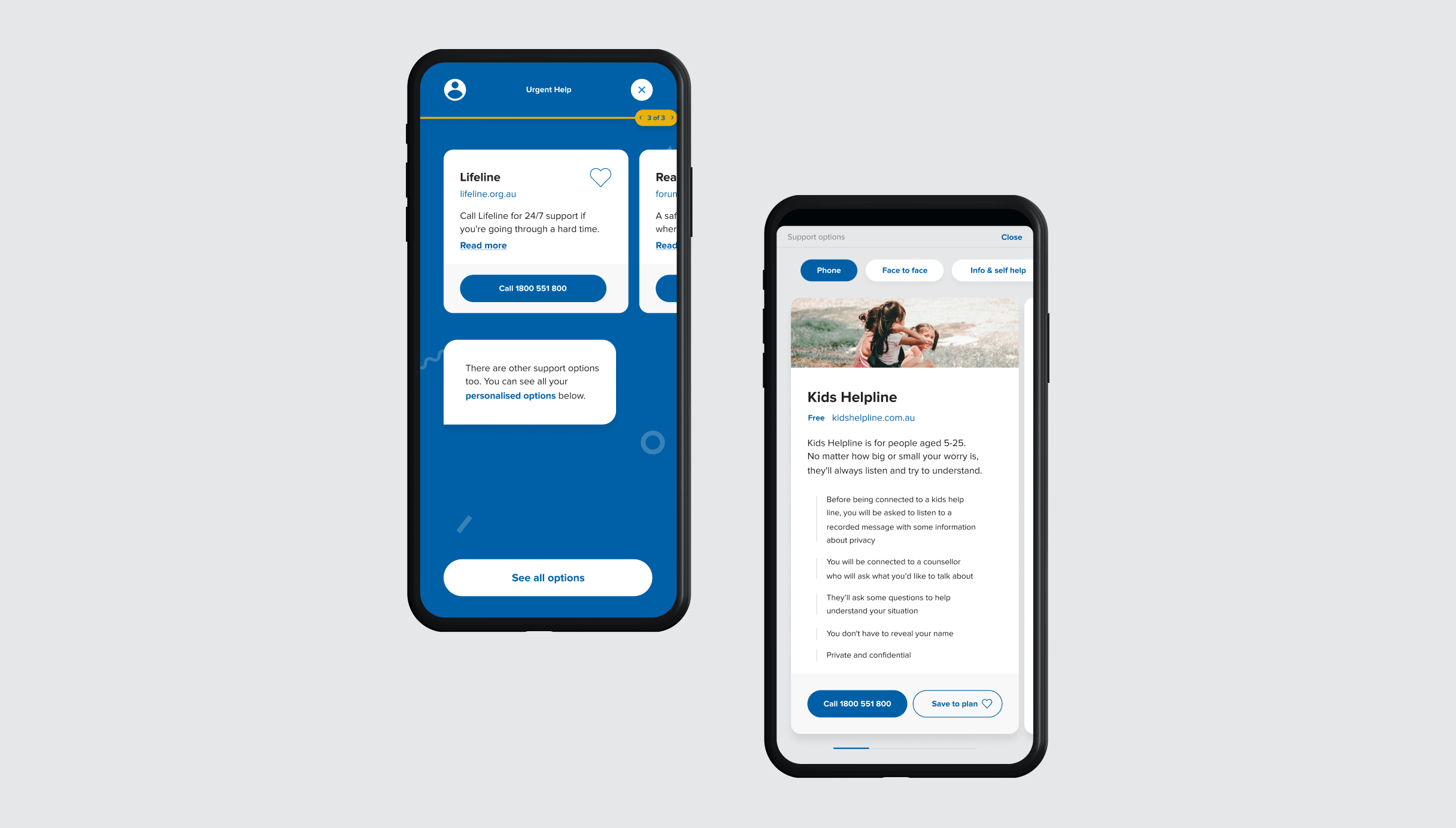 Mobile Next Step final step screen, showcasing Kids Helpline assistance notes