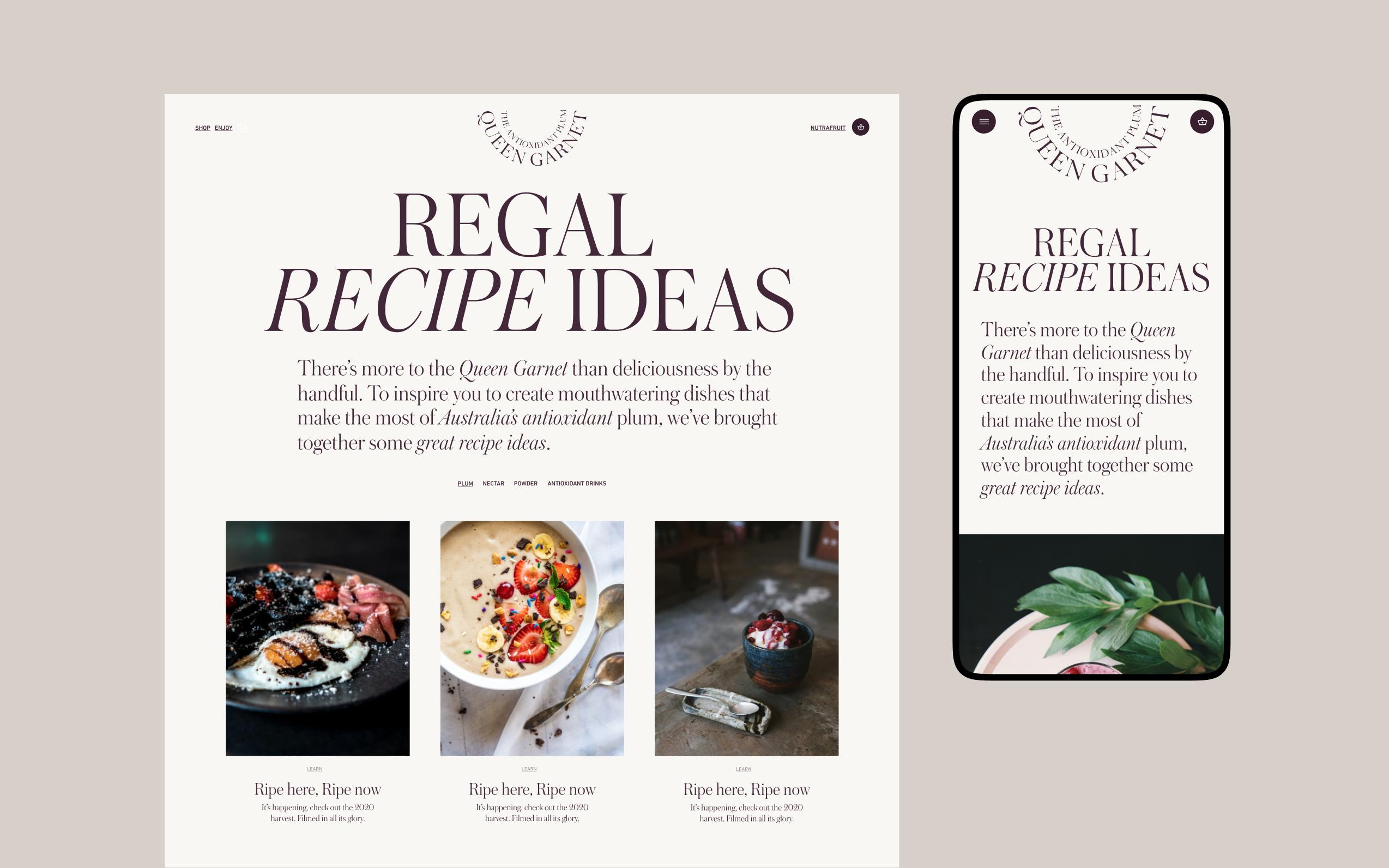Desktop and mobile screen of the Queen Garnet website recipe page