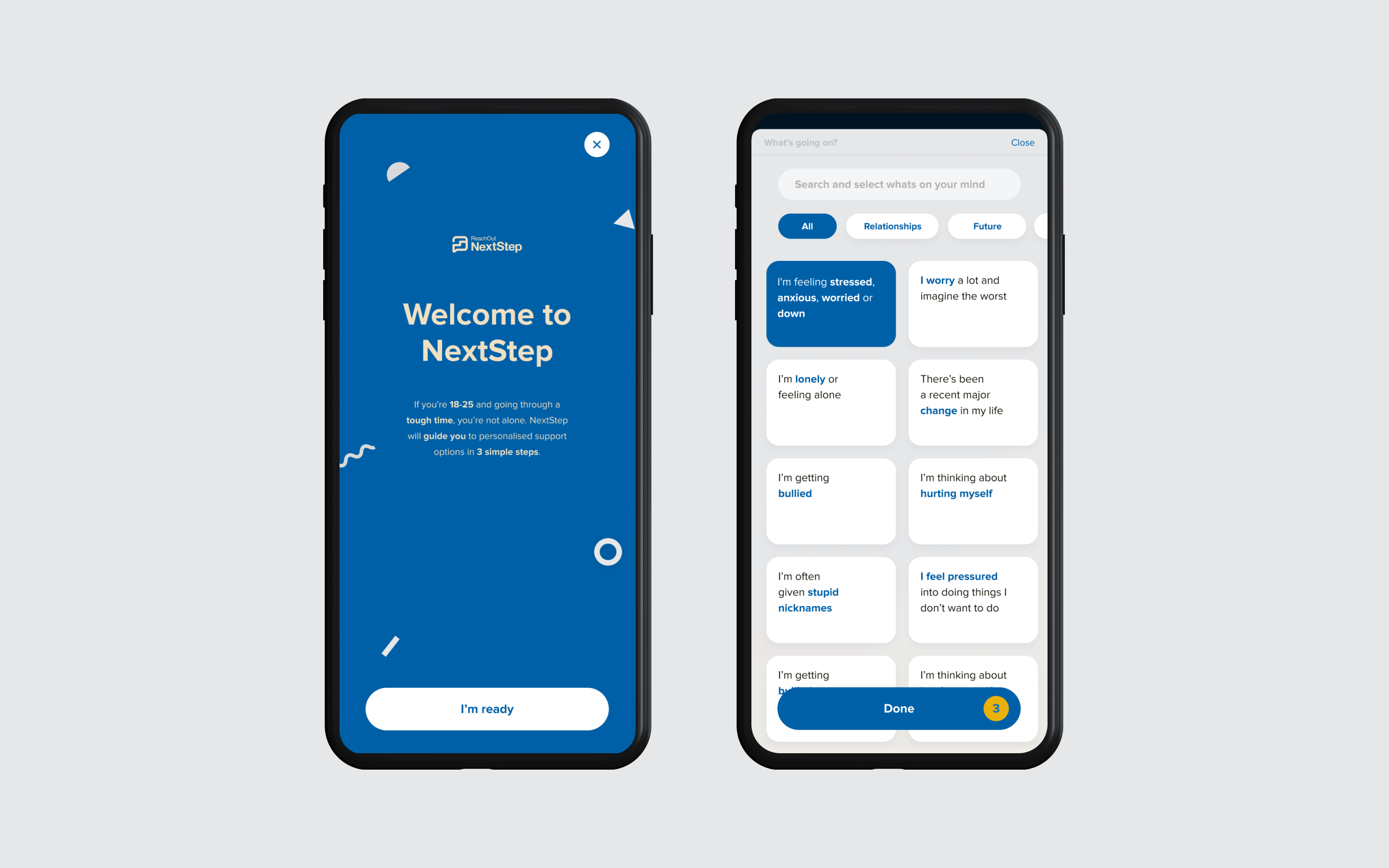 Two mobile screens showing Next Step intro and issue selection