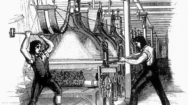 "Frame-breakers, or Luddites, smashing a loom. Machine-breaking was criminalized by the Parliament of the United Kingdom as early as 1721, the penalty being penal transportation, but as a result of continued opposition to mechanisation the Frame-Breaking Act 1812 made the death penalty available: see ""Criminal damage in English law""."