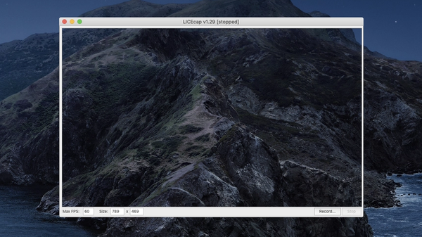The LICEcap frame ready to capture the changing background of macOS Catalina