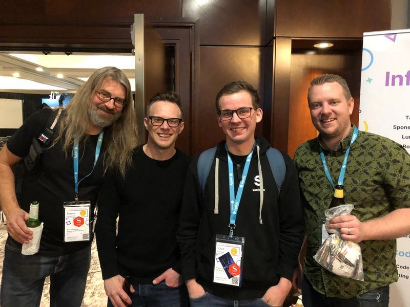Simen Svale Skogsrud, Scott Tolinski, Knut Melvær (me), and Wes Bos.