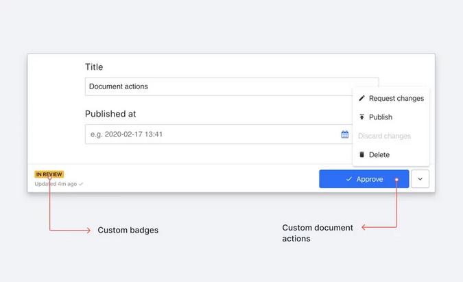 Custom badges and custom document actions in Sanity Studio