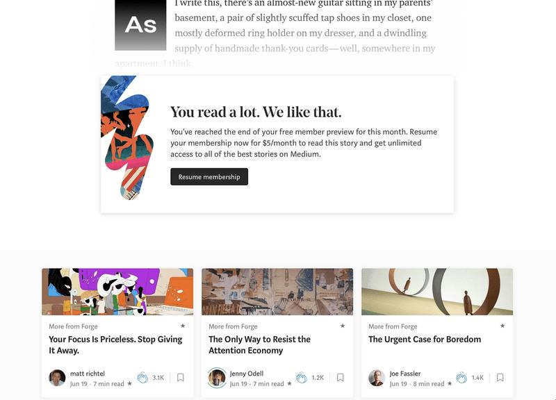 A screen grap of Medium's
