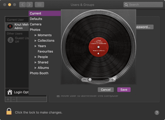 The system preferences panel with the vinyl player avatar