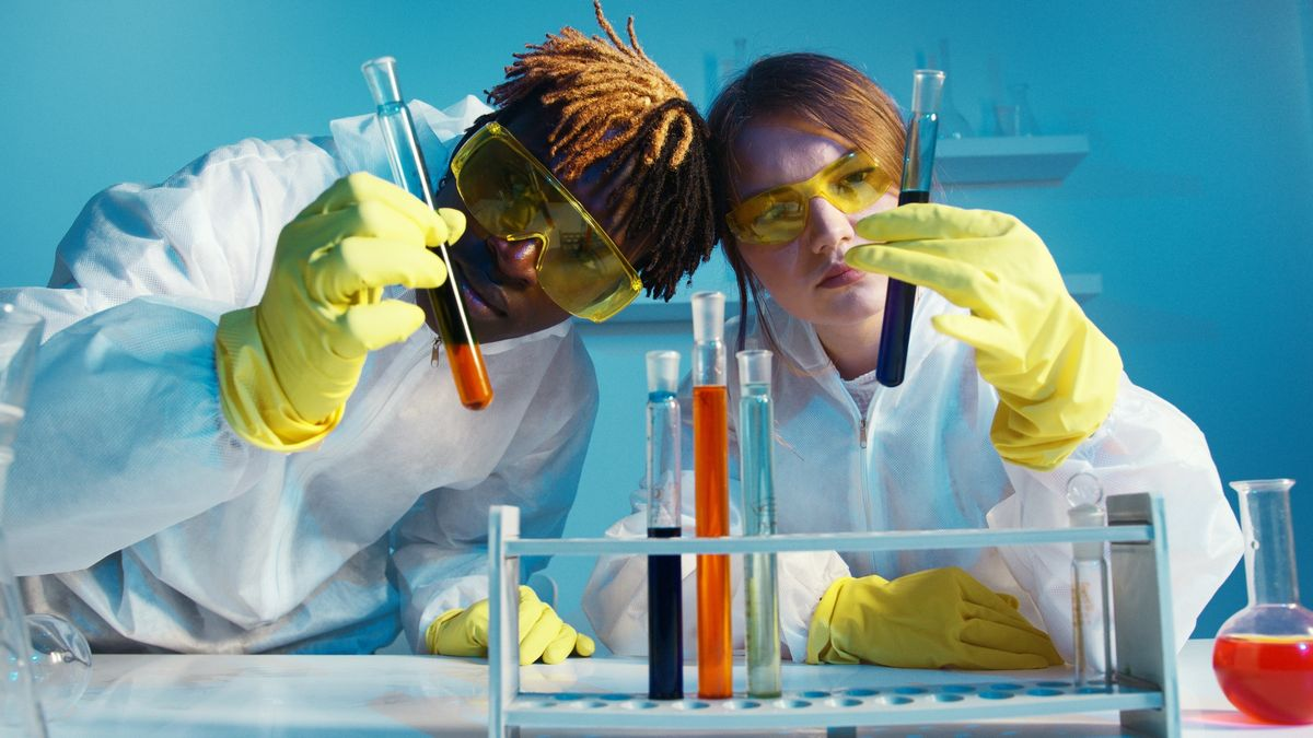 Scientists in a lab looking at test tubes