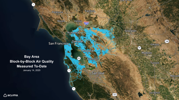 Aclima has already mapped hyperlocal air pollution and greenhouse gases throughout the highlighted region and is expanding to include the entire Bay Area over the next year.