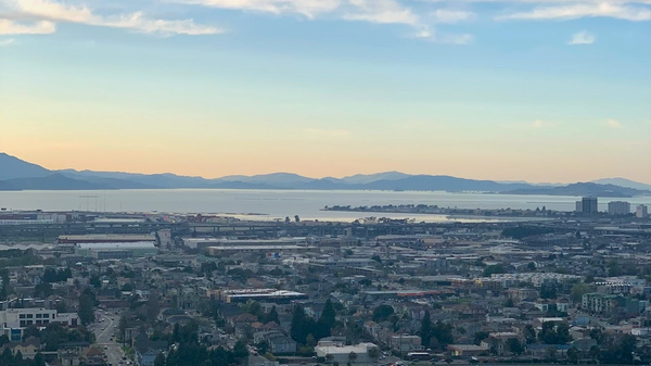 Aerial view of Oakland, California, the San Francisco Bay and the Marin headlands at sunset on March 30, 2020