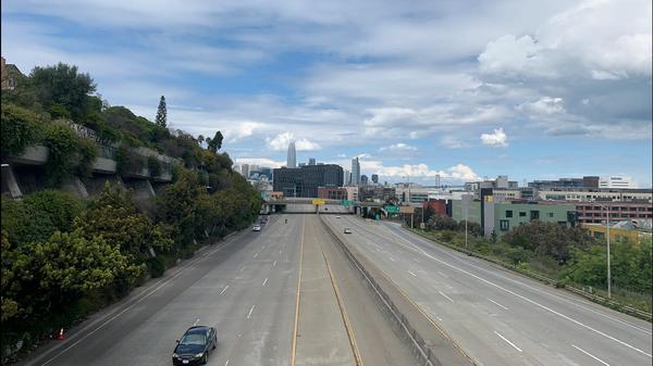 Empty freeway I-280 San Francisco California March 20 2020