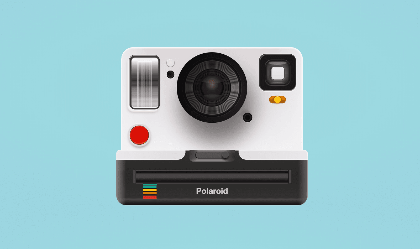 End result of a black and white polaroid camera (red shutter and yellow flash switch) on a light blue background