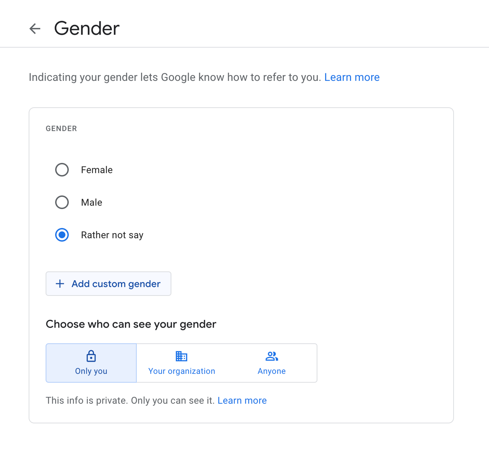 Gender selection on a form, 3 radio buttons (male, female, rather not say) with 'add custom gender' button underneath