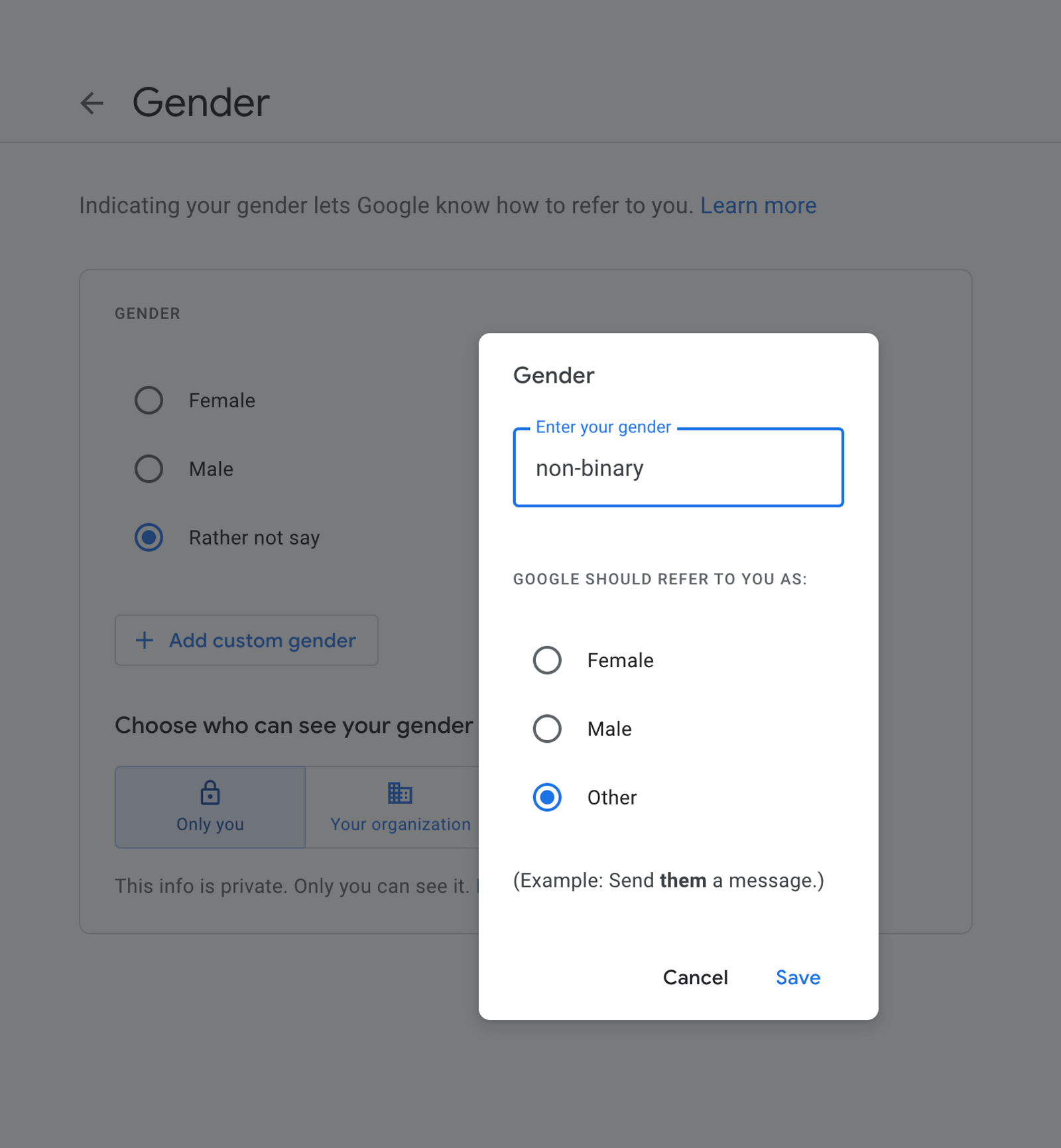 Gender selection box, custom gender is chosen, pop-up with free text field for gender (non-binary entered) and 3 choices for pronouns: female, male, other