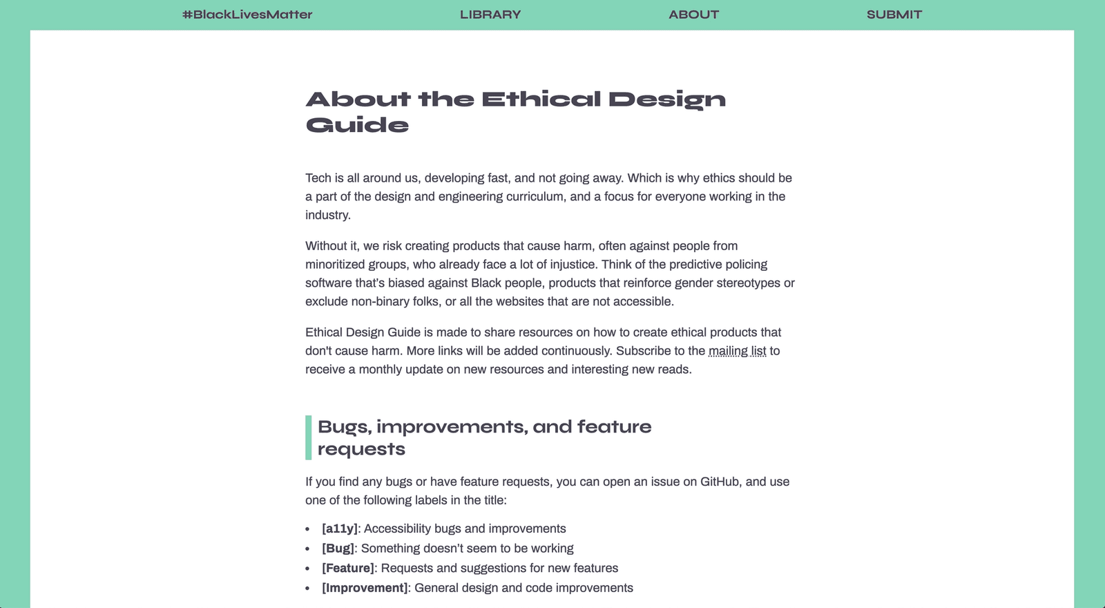 ethicaldesign.guide/about: Green border around the page, description in the centre.