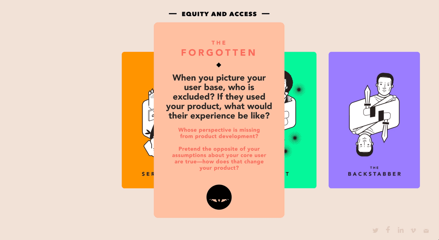 equity and access, the forgotten: when you picture your user base, who is excluded? If they used your product, what would their experience be like? Whose perspective is missing from product development? Pretend the opposite of your assumptions about your core user are true—how does that change your product?