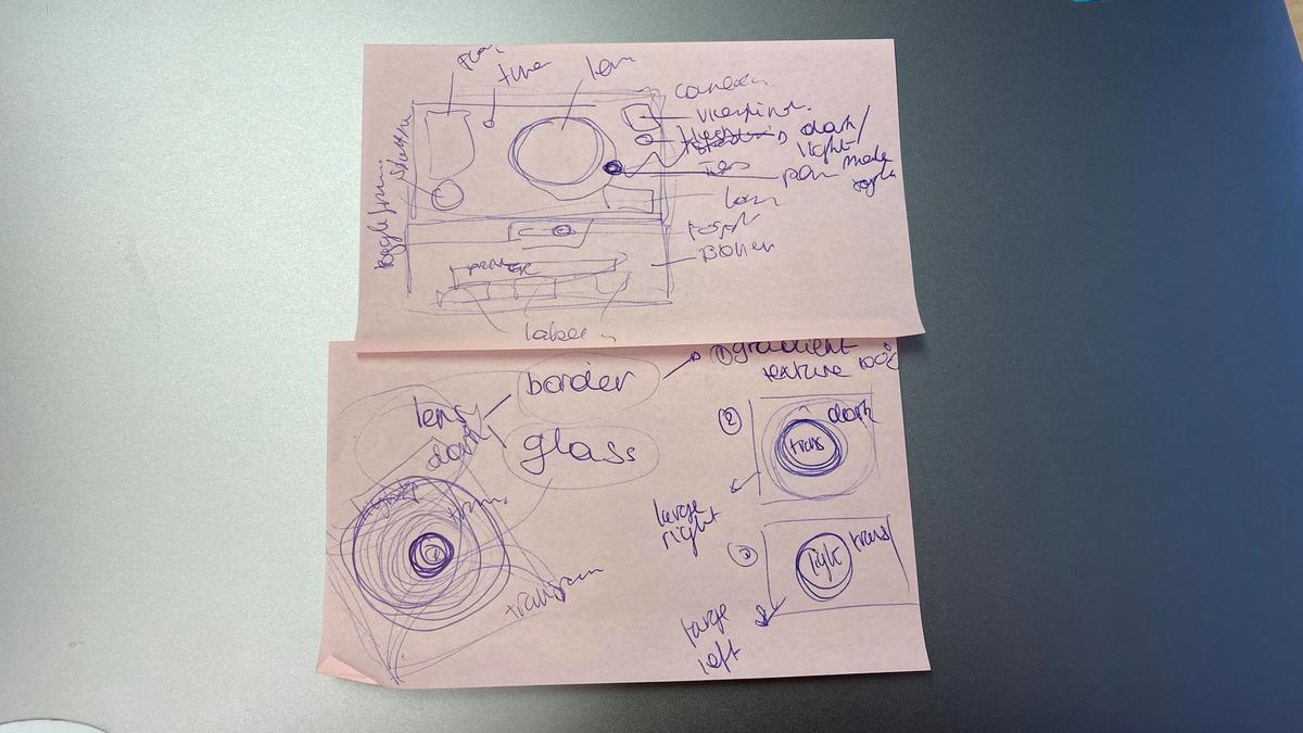 two pink post-its with sketches of the camera on it and component names highlighted on the side