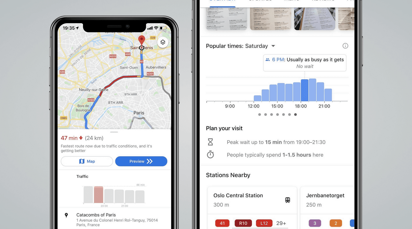 Google Maps screenshot showing the business of a restaurant with words and visualizations