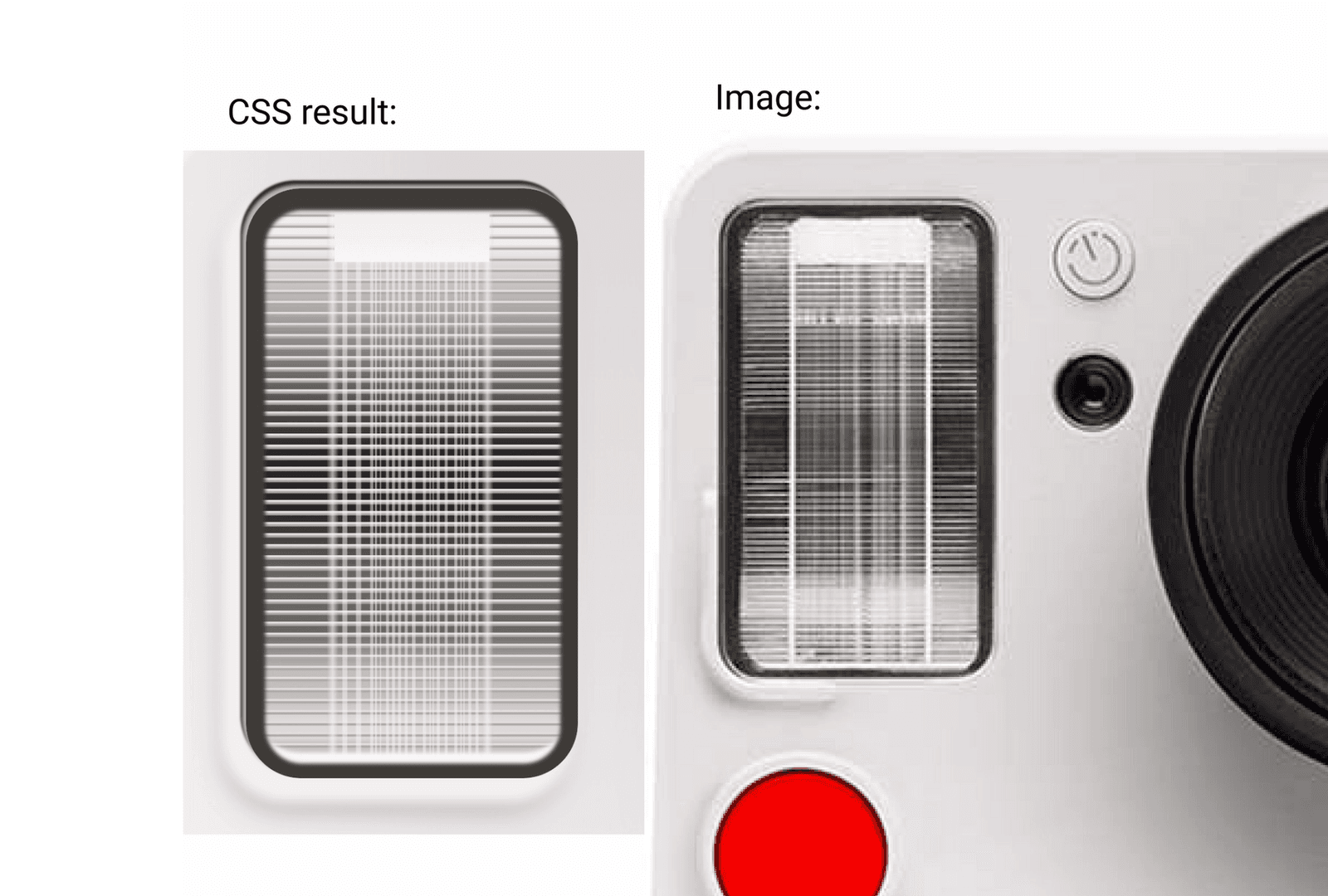 flash drawn in css vs the actual flash. Both look almost identical
