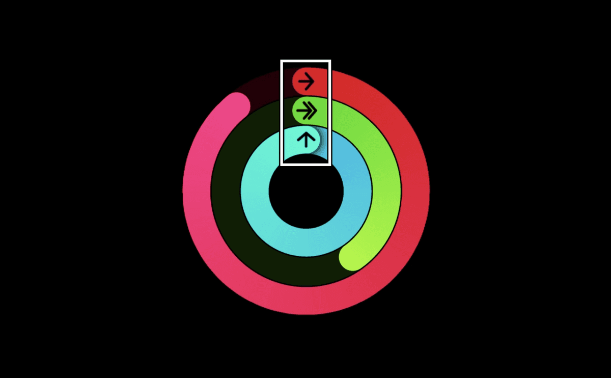 3 progress circles (activity rings) in pink, green and blue. They have icons for moving, exercising and standing, which are circled.