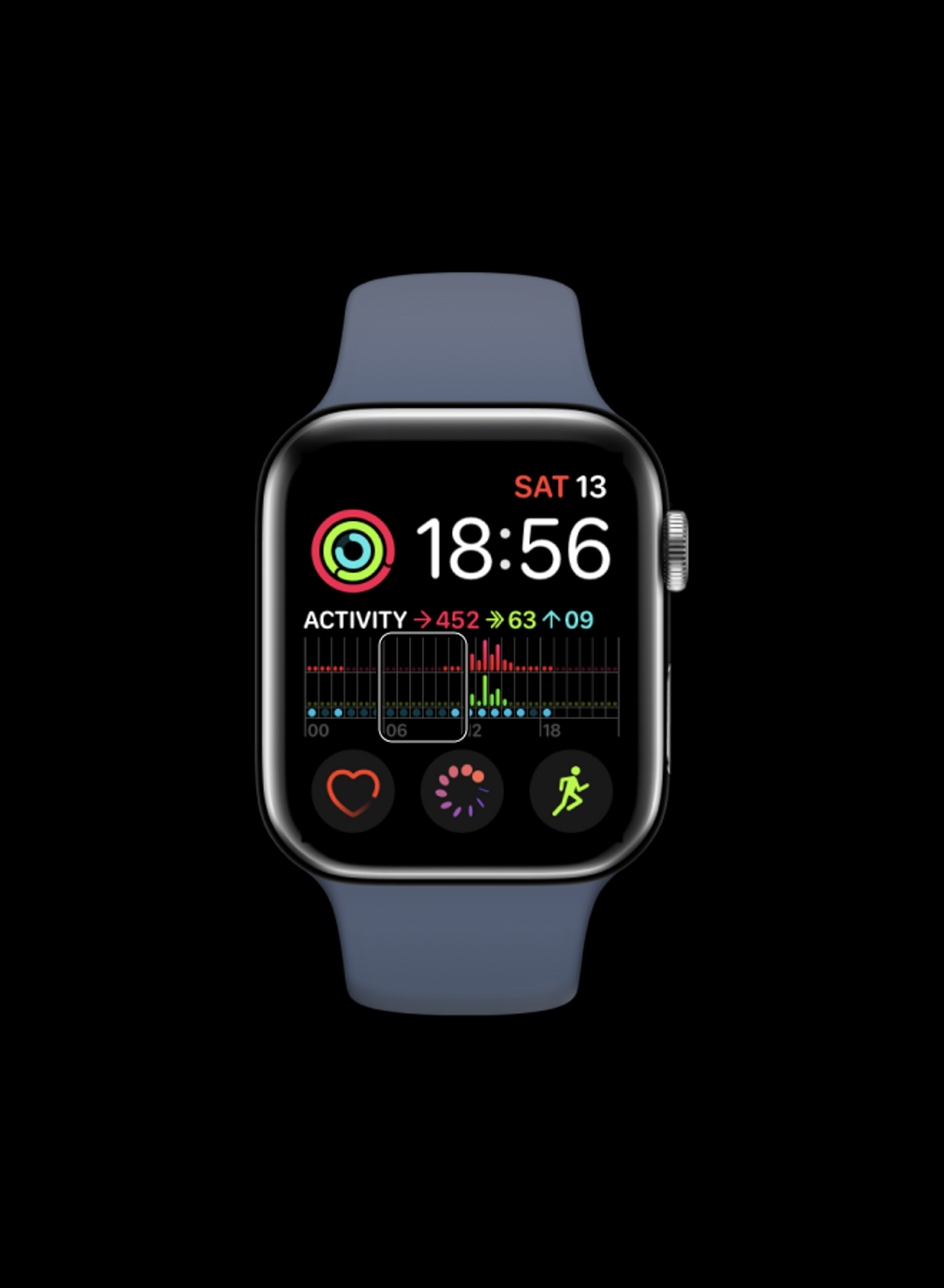 the same apple watch face inside an apple watch, one six hour block is selected with voiceover