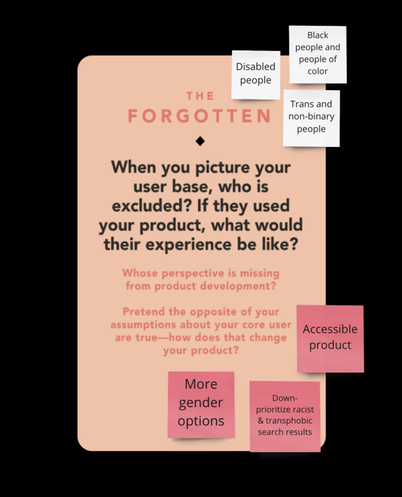 answers to the forgotten card about who is excluded and how that changes things: