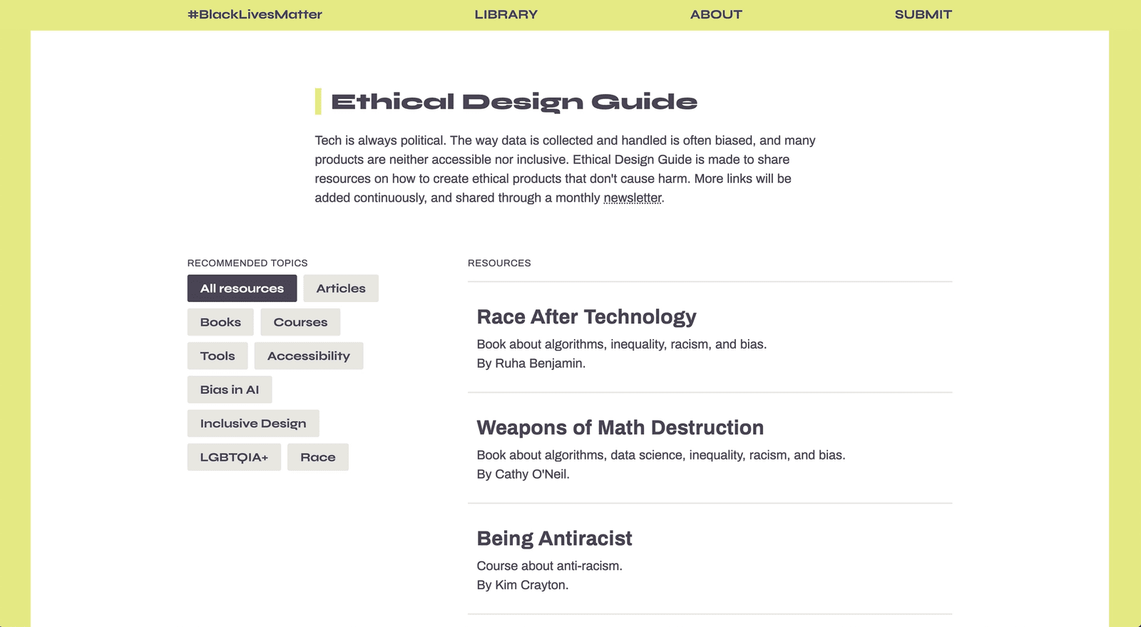 Screenshot of ethicaldesign.guide: a description on top, recommended topics on the left, and resources on the right