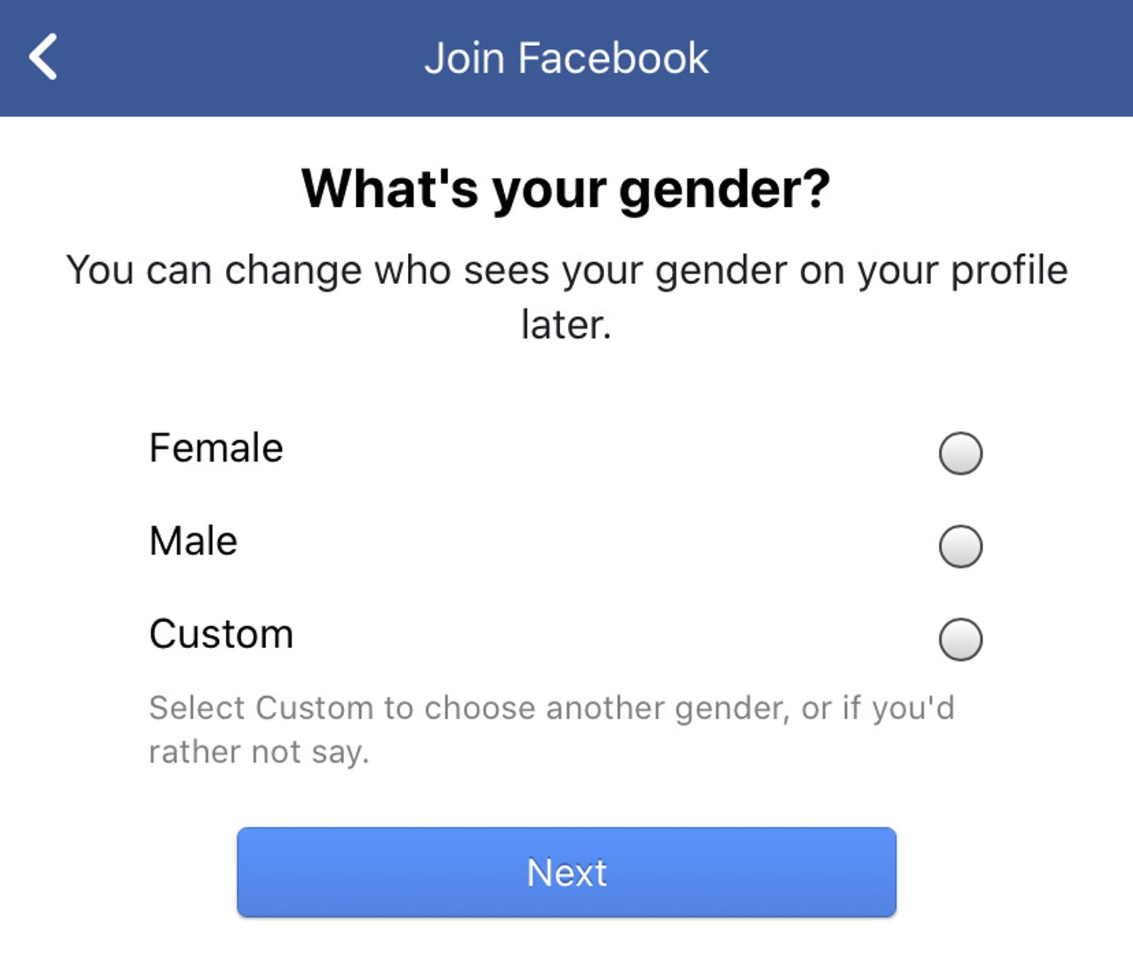 Facebook gender selector: male, female, custom. Select custom to choose another gender, or if you'd rather not say.