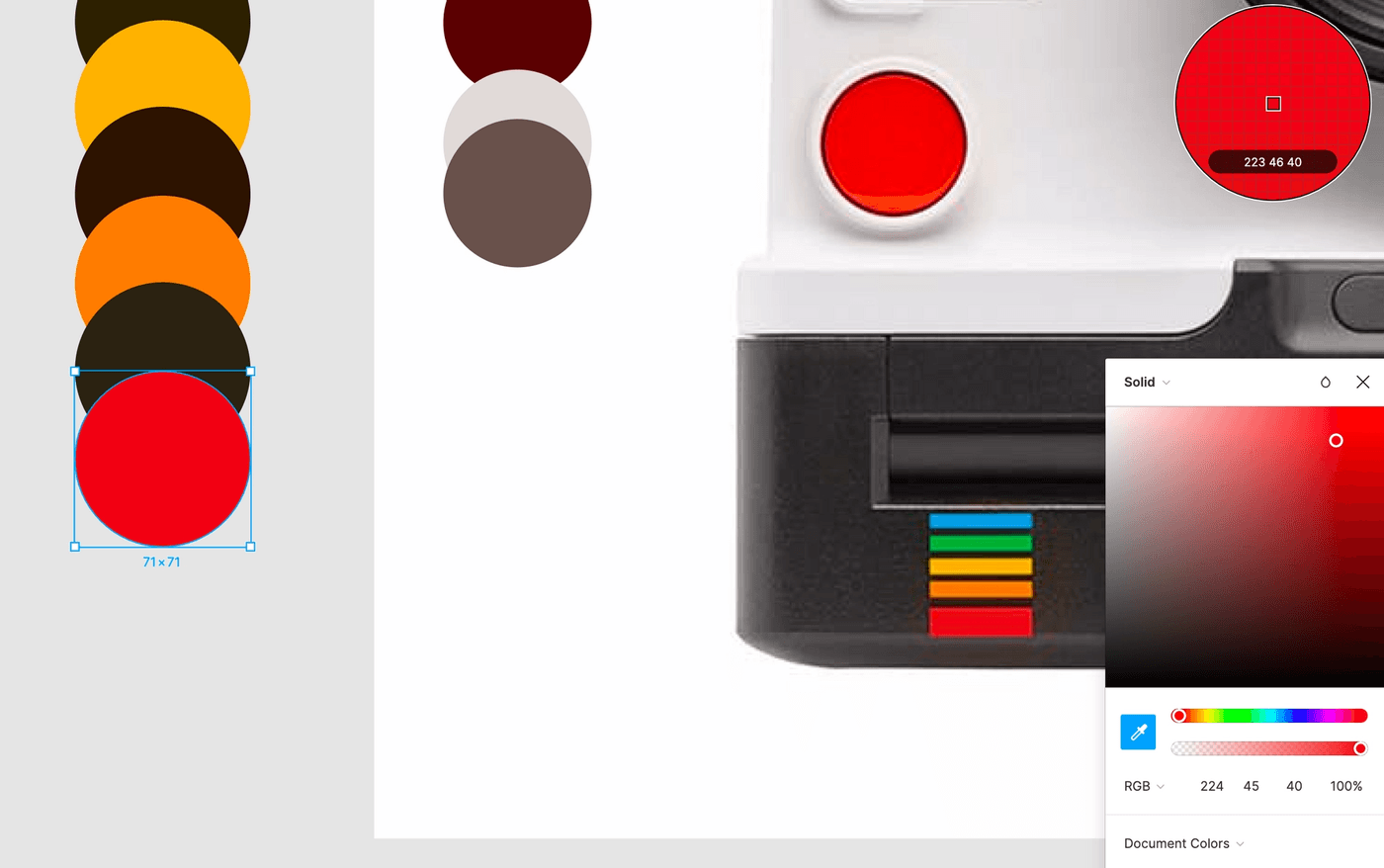 Figma file with colors picked for the rainbow