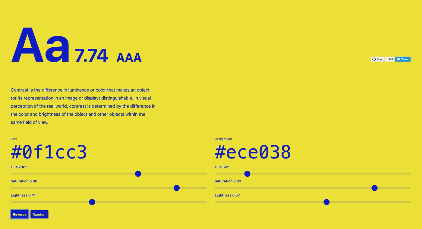 Colorable interface: large colored type on a colored background, the text color and background color can be set by the user, and contrast ratio and AAA/AA/AA Large/Fail label are shown