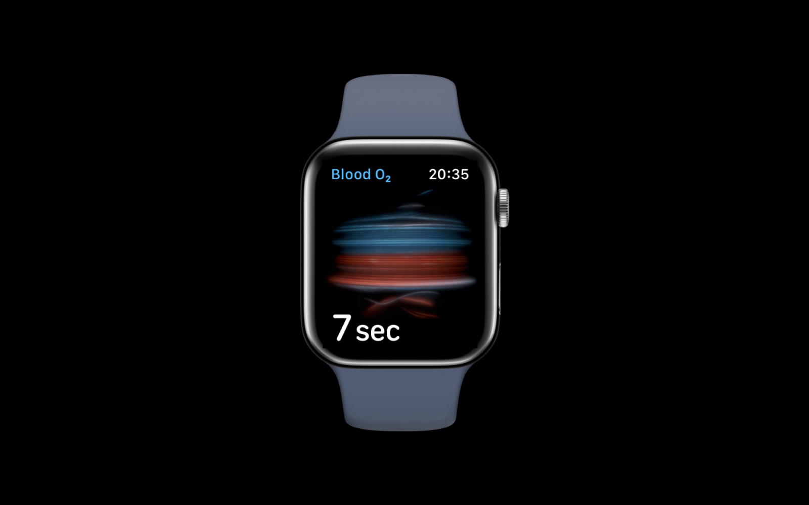 blood oxygen on iphone, blue and red lines animated in the middle, time left written under