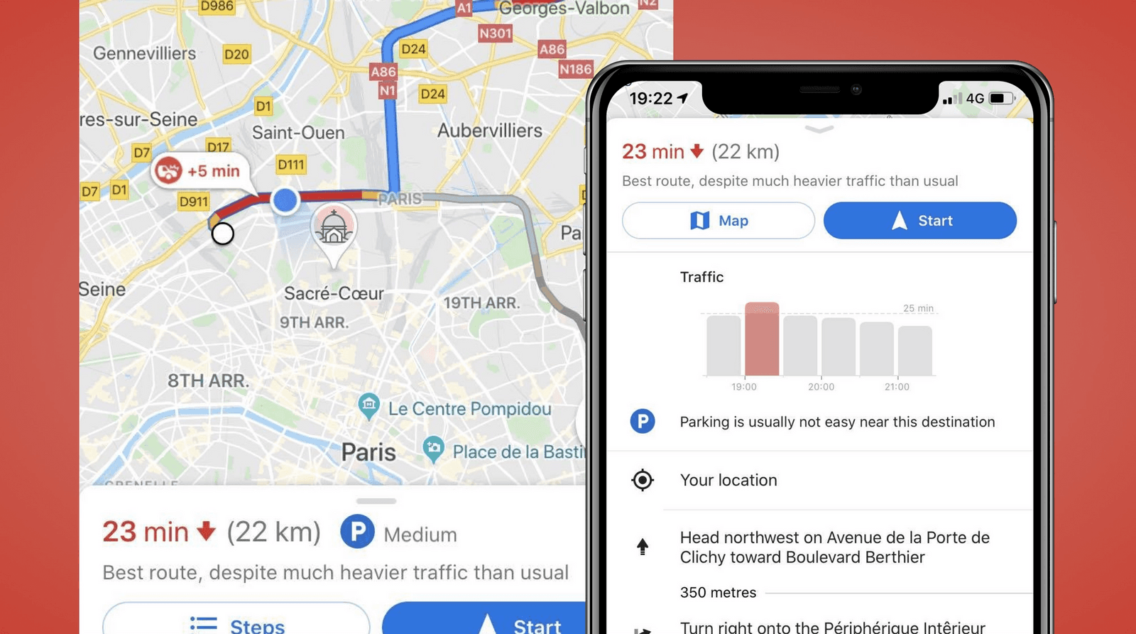 Google Maps screenshot showing the traffic situation with words and visualizations