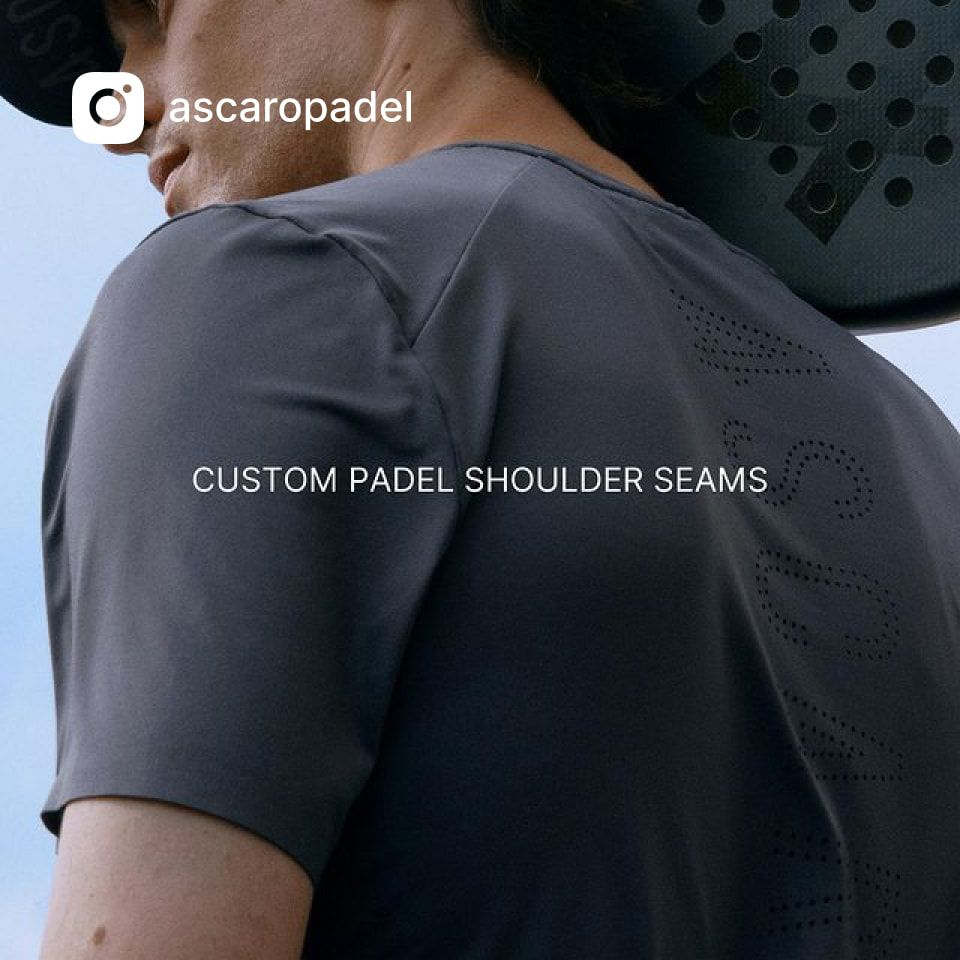 Custom padel shoulder seams