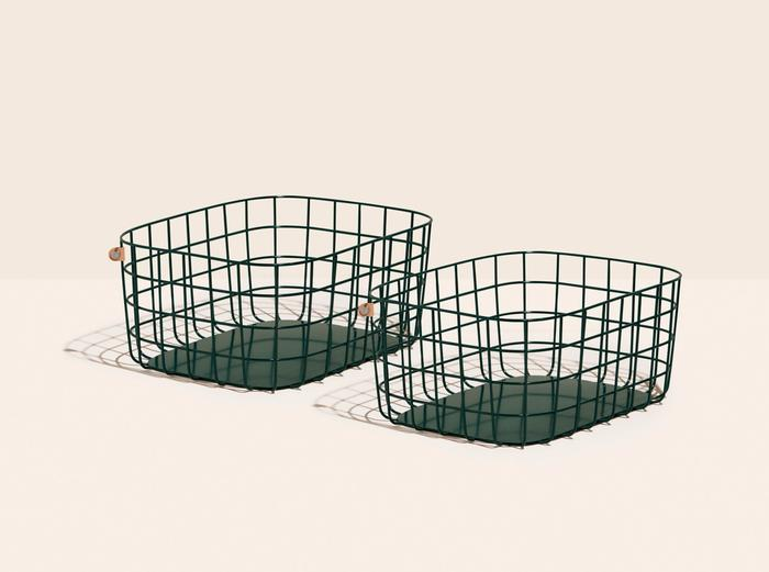 Image for Large Wire Baskets - Set of 2 - Dark Green