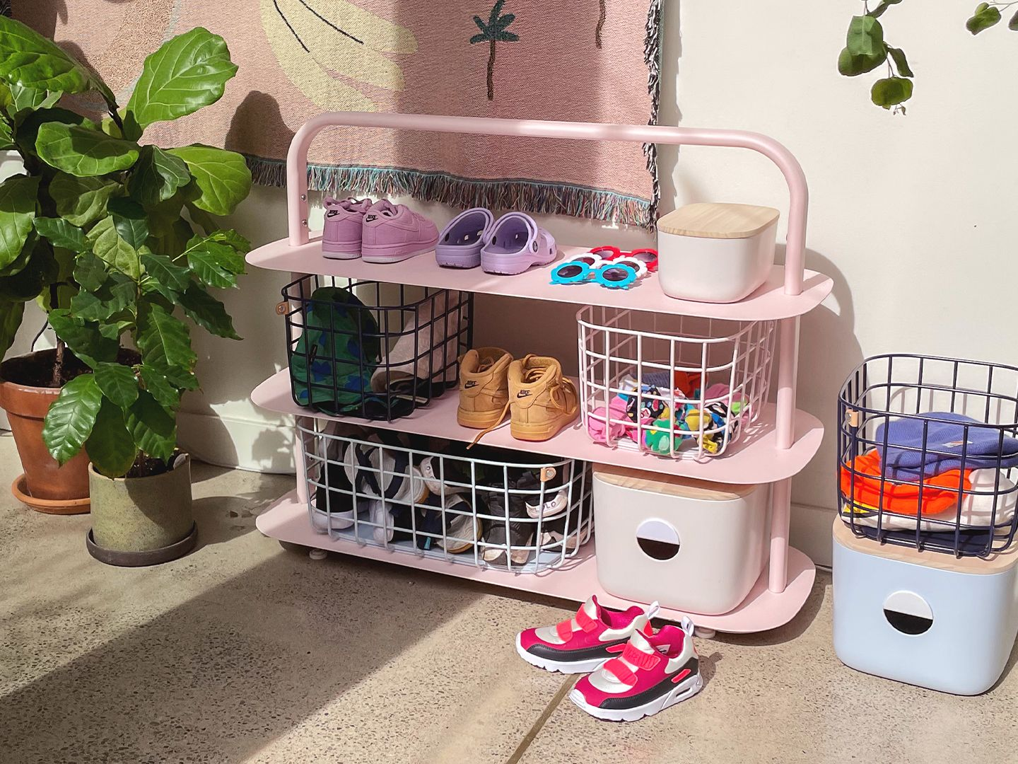 Pink Entryway Rack with Baskets