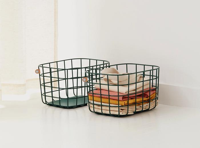 Image for Medium Wire Baskets - Set of 2 - Dark Green