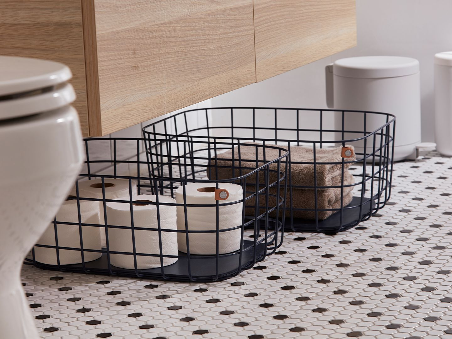 An image of the Open Spaces wire baskets in black.