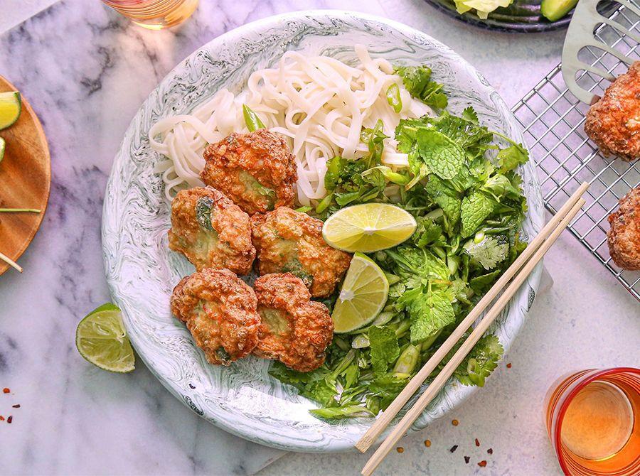 Image for Crispy Fried Shrimp Cakes with Herb Salad